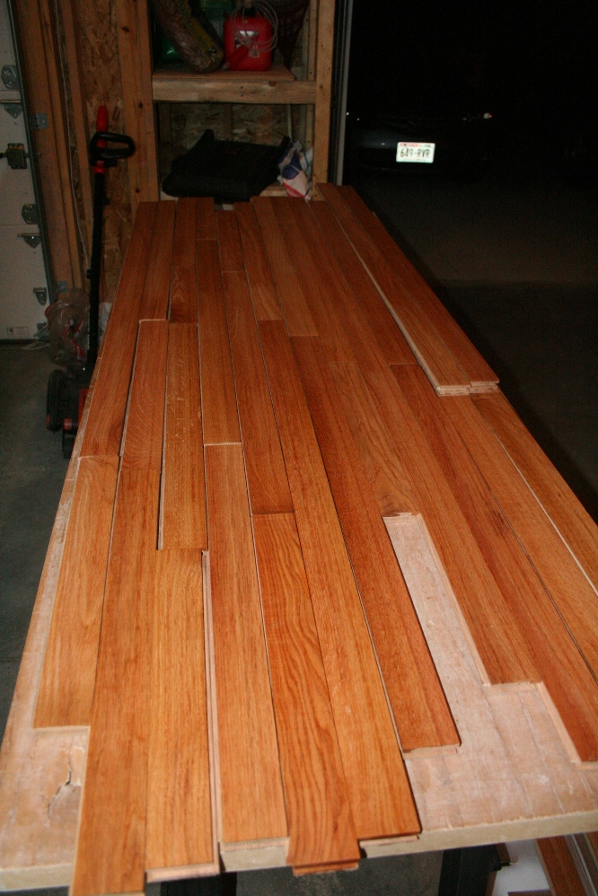 The Hardwood Flooring That Will Become My Bartop Sanded Stained And